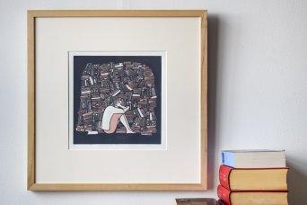 Els Pardon beeldend kunstenaar linoleumsnede vrouw met boeken
