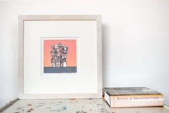 Els Pardon beeldend kunstenaar linoleumsnede Tarifa oranje