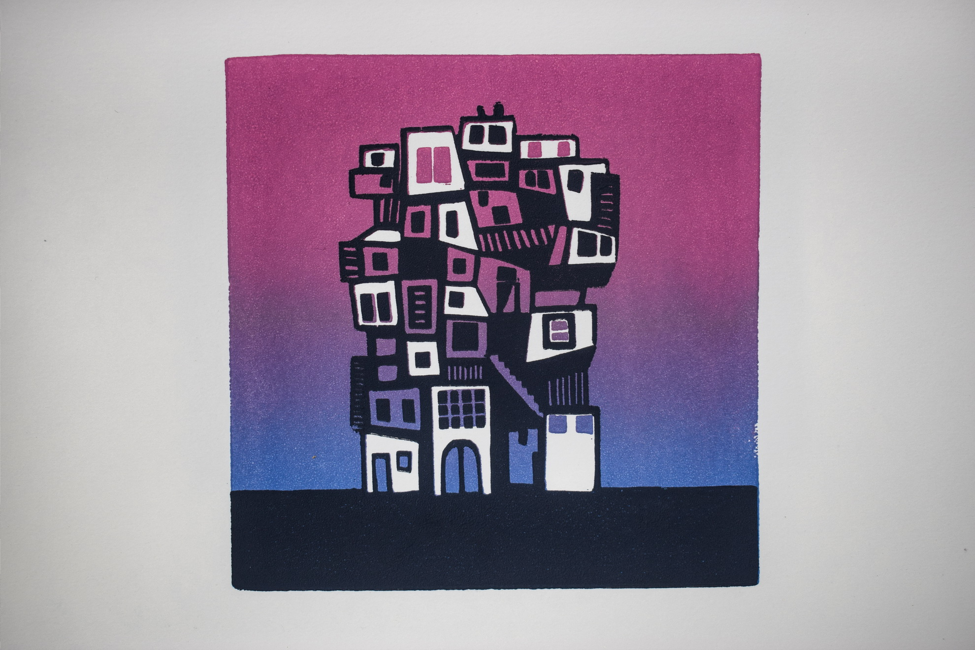 Els Pardon beeldend kunstenaar linoleumsnede Tarifa paars