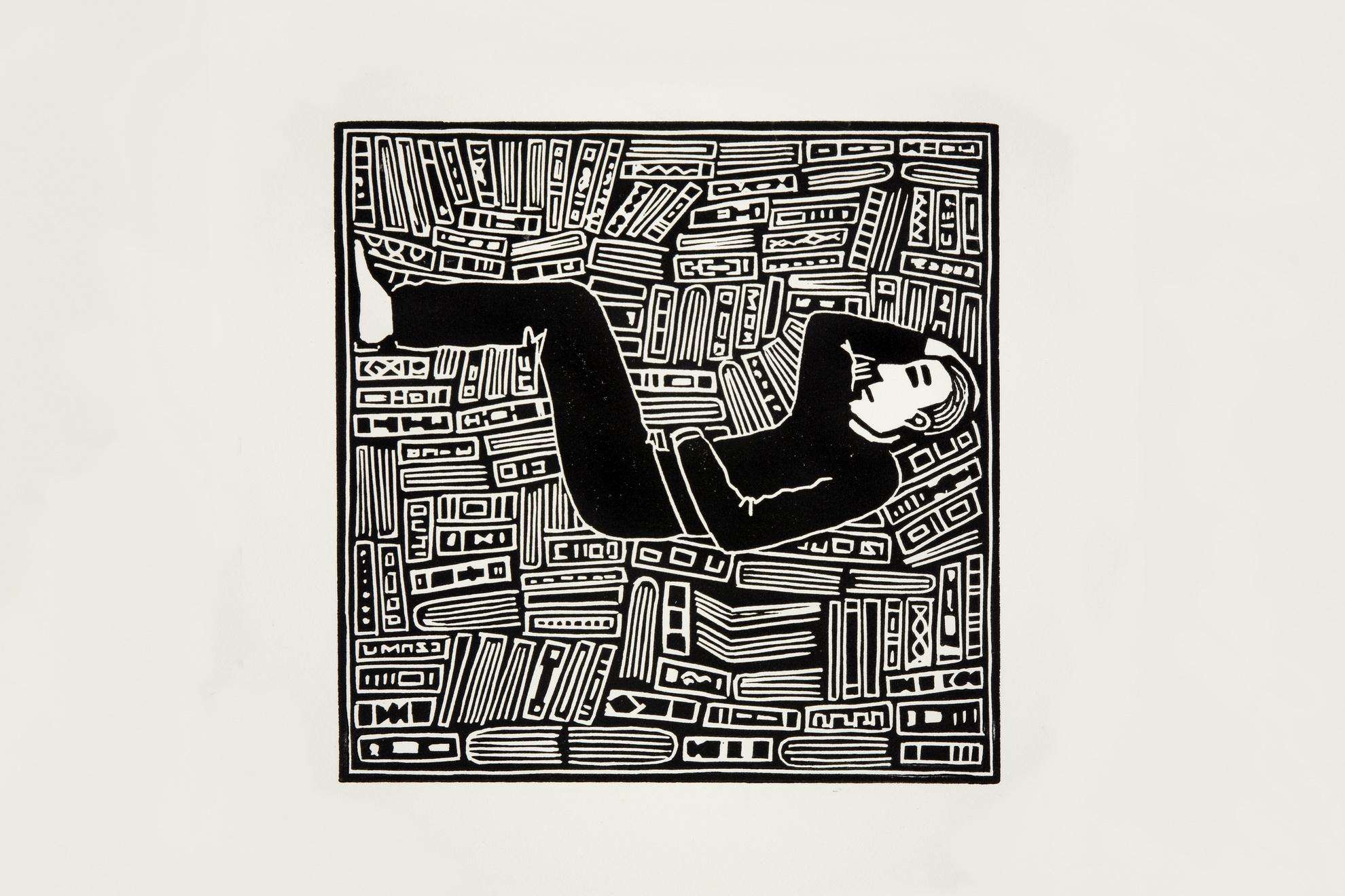 Els Pardon Beeldend Kunstenaar lino Liggende man en boeken (12,5x12,5cm) 2018