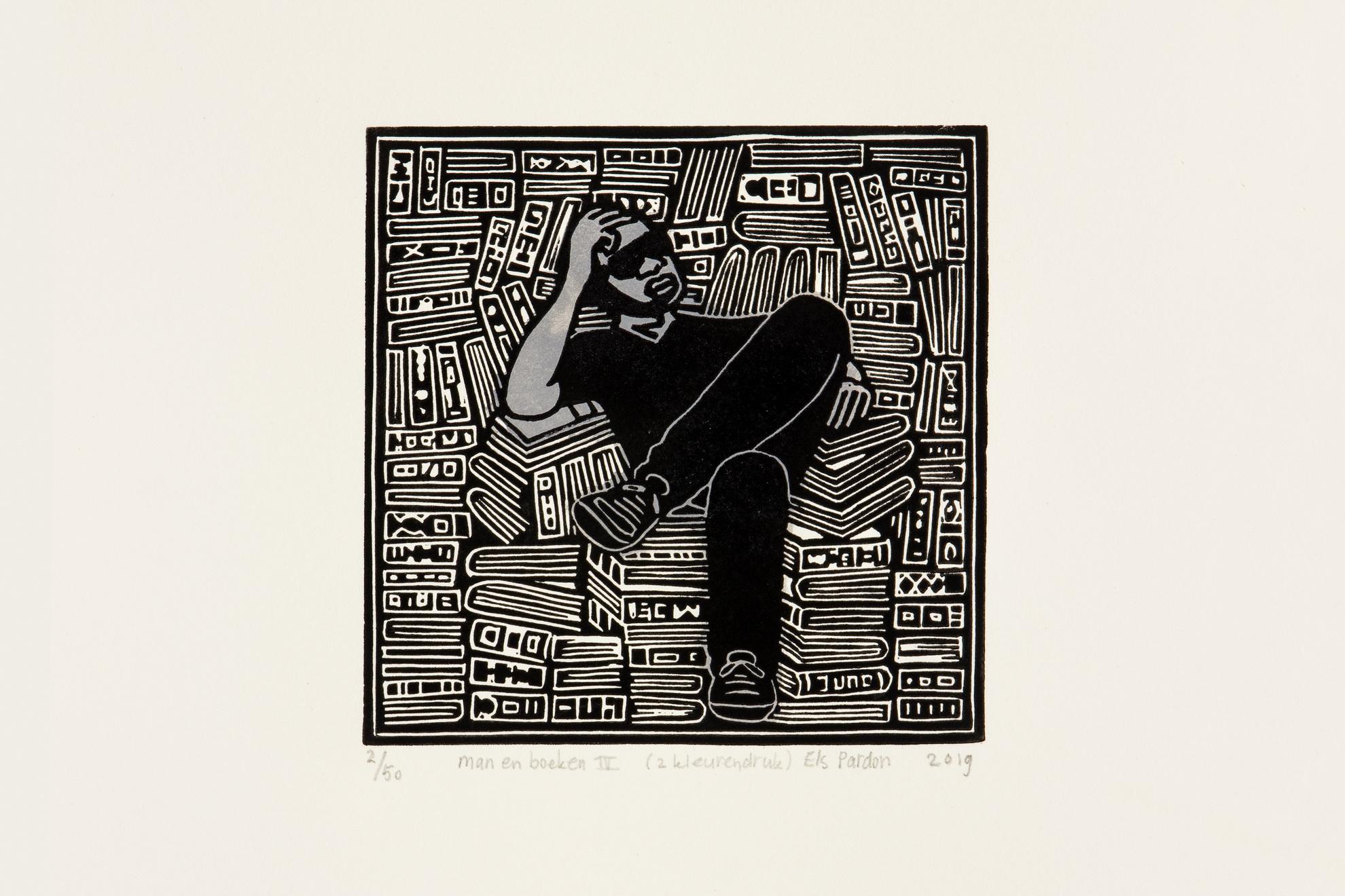 Els Pardon Beeldend Kunstenaar linoleumsnede man en boeken 4 (2 kleurendr.) (11x11cm) 2019
