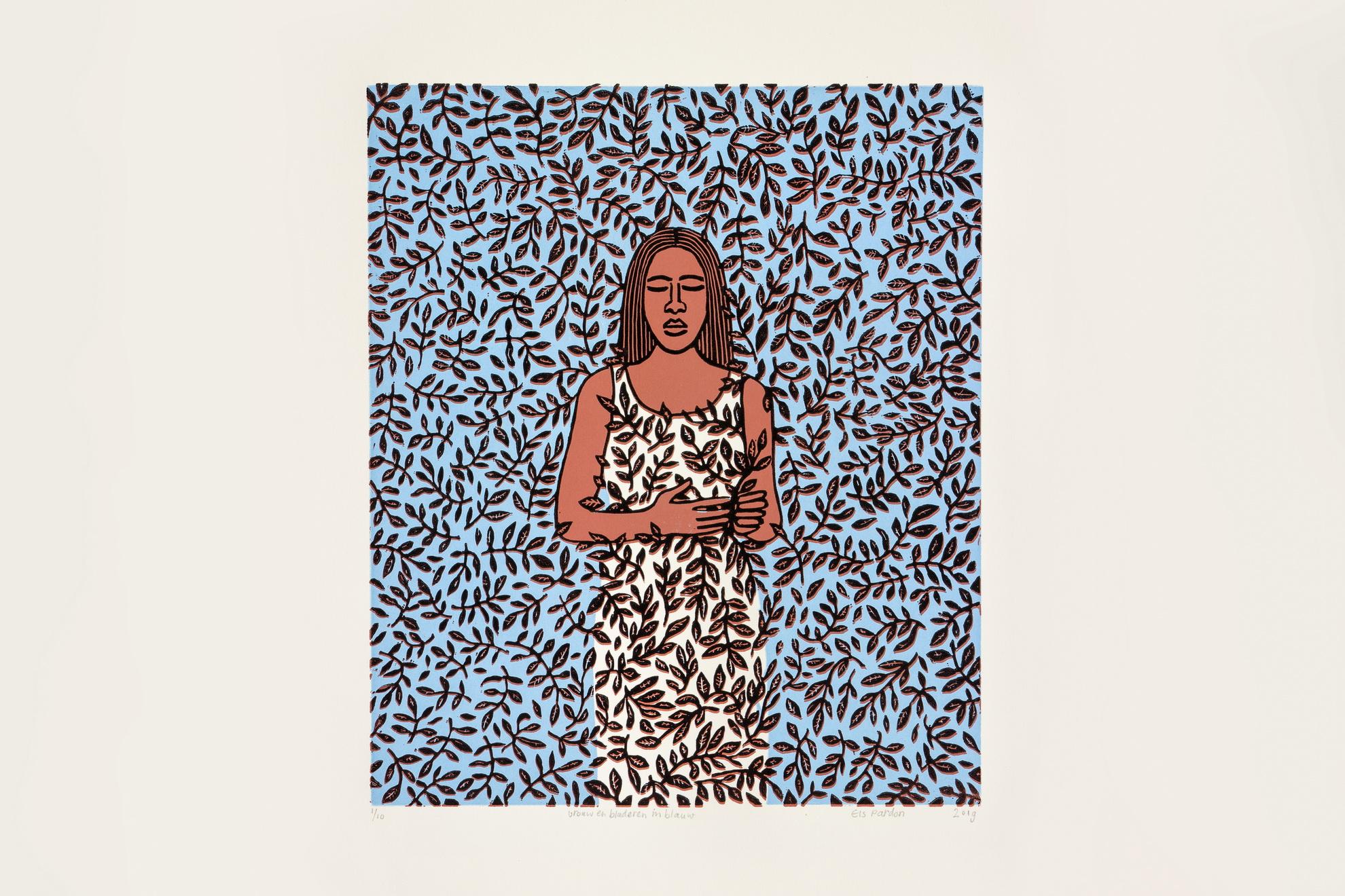 Els Pardon beeldend kunstenaar lino vrouw en bladeren blauw/wit