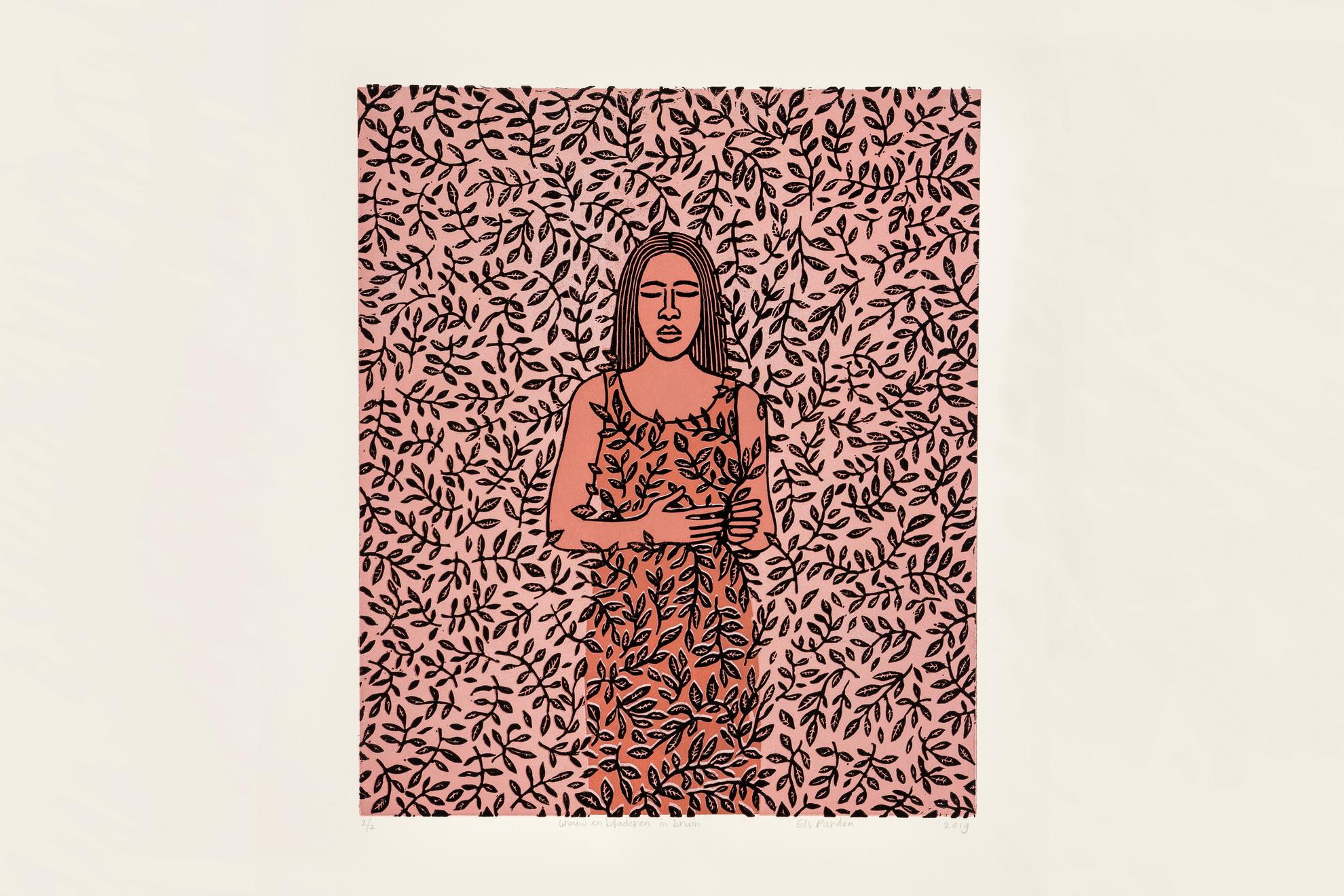 Els Pardon Beeldend Kunstenaar lino vrouw en bladeren bruin/bruin (24x28cm)