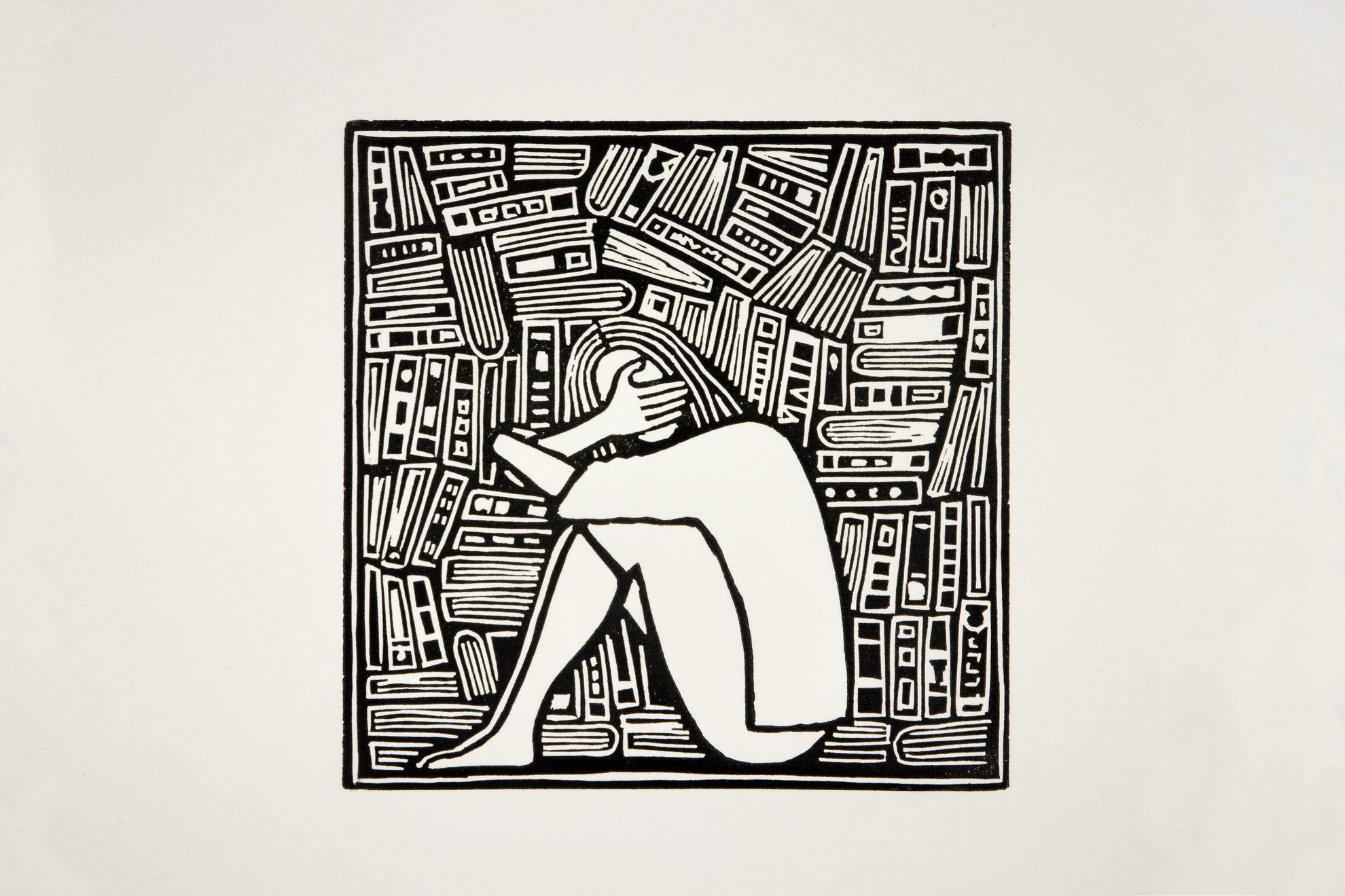 Els Pardon beeldend kunstenaar lino vrouw en boeken 2 (10x10cm) 2018
