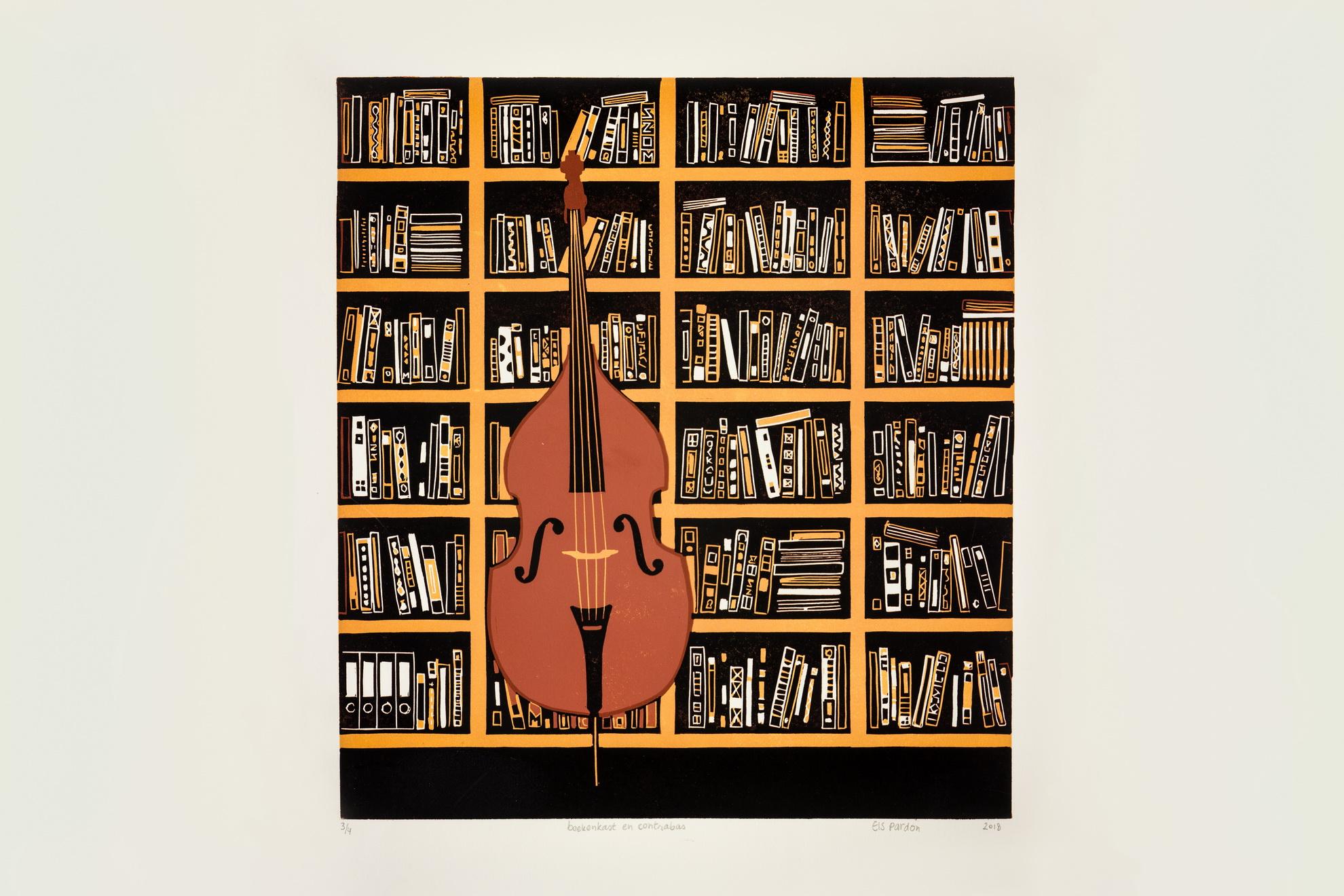 Els Pardon Beeldend Kunstenaar lino boekenkast en contrabas